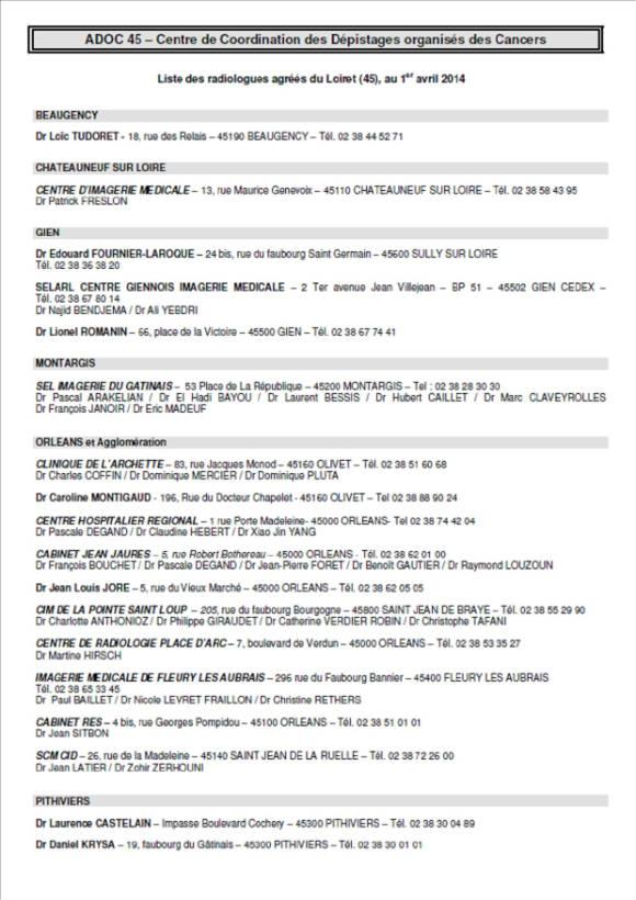 Liste des radiologues agr s dans le loiret for Liste entreprise loiret