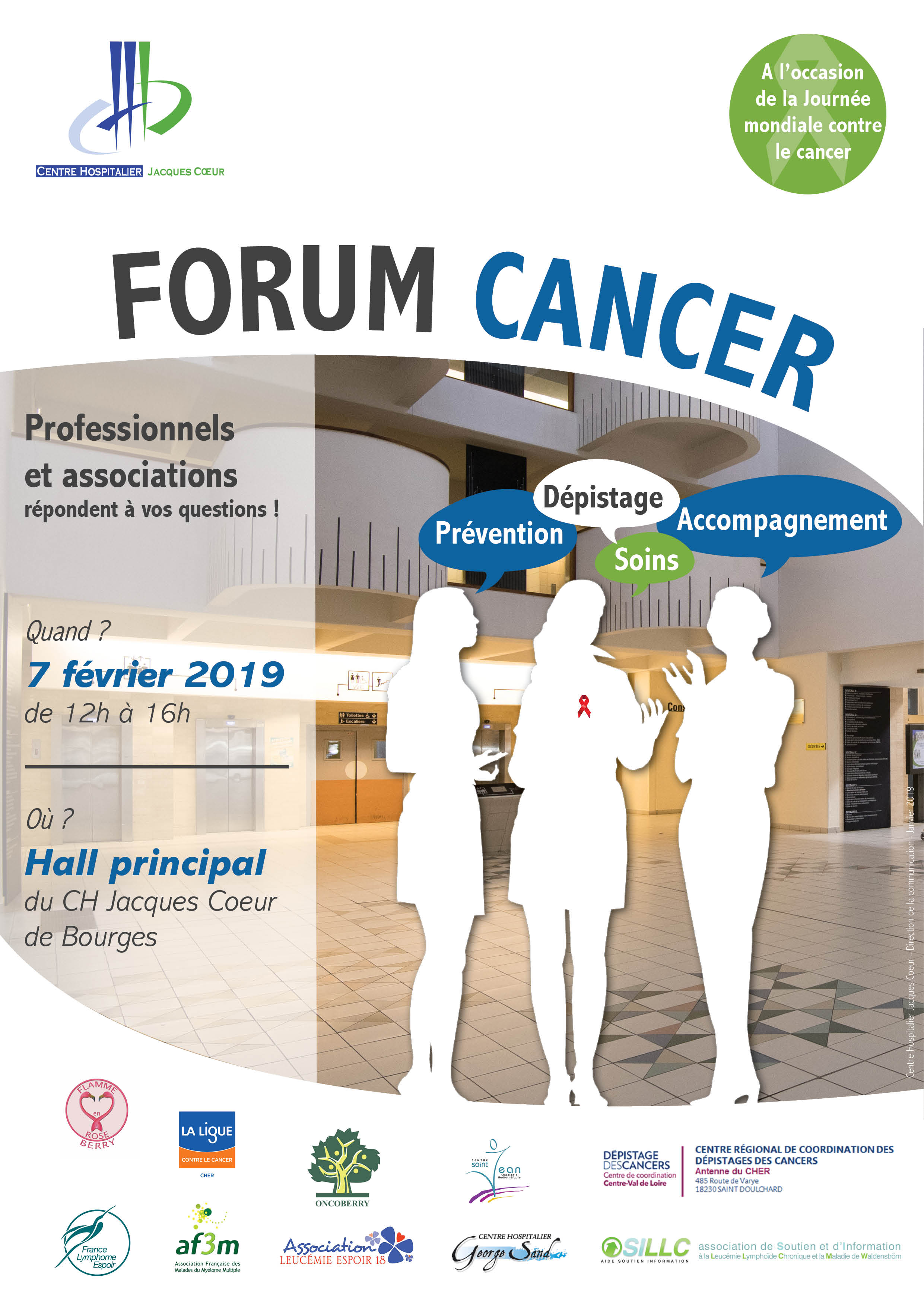 Affiche Forum cancer CENTRE HOSPITALIER BOURGES 2019