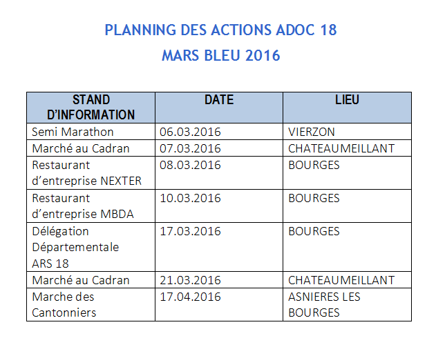 Planning des actions mars bleu 2016 1